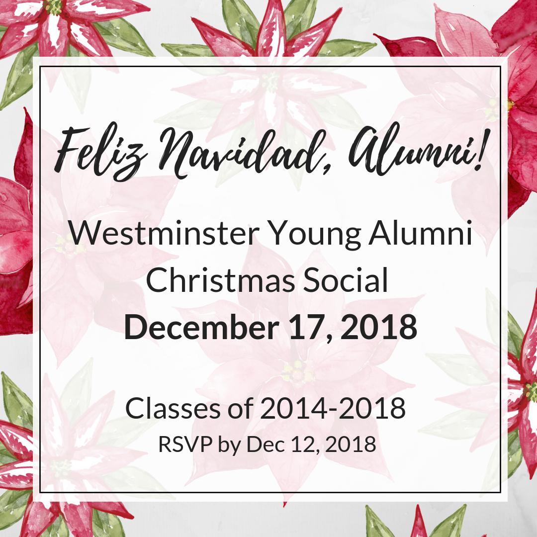 alumni christmas social invite | Westminster