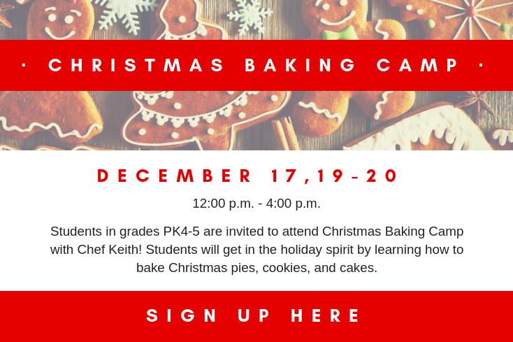 Christmas Baking Camp - Parent Photo | Westminster