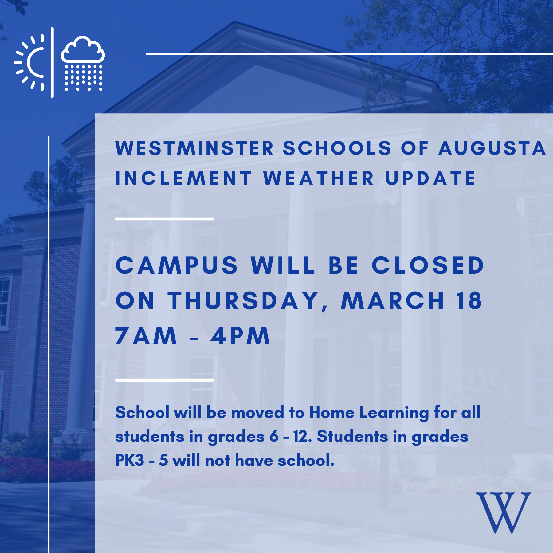 Weather Closure: 3.18.21 | Westminster